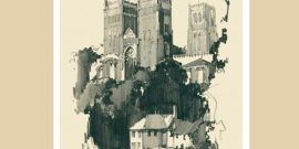 mounted print of durham cathedral for sale