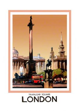 Trafalgar Square London Print Railway Poster