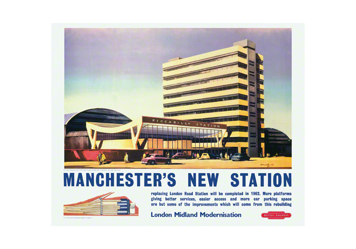 Print of Manchester Piccadilly Railway Station Railway Poster
