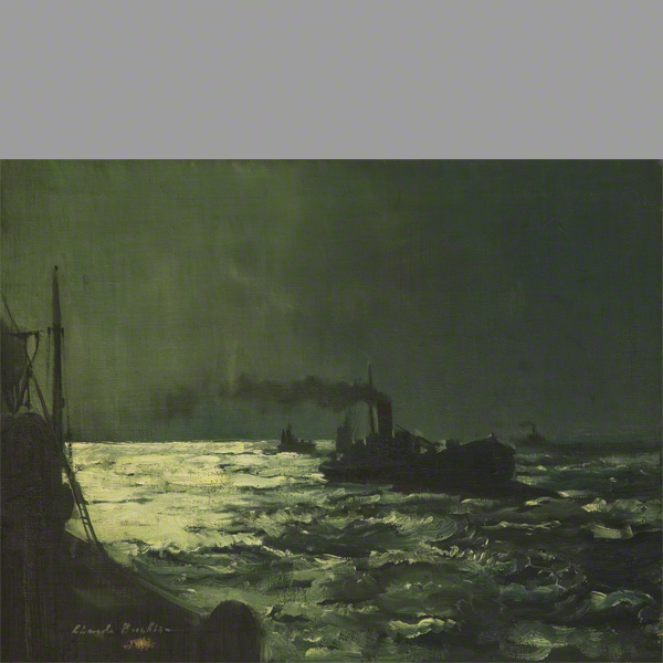 Print of Homeward bound showing a fishing boat at night on the sea.