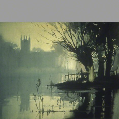 Misty River Creek. Atmospheric print in water colour. Willow trees and a church in the background.