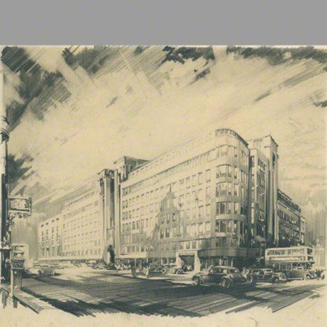 Pencil drawing Selfridges department store London