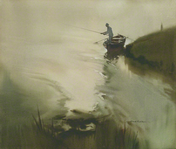 River scene in which an angler is shown casting his line from a fishing boat.