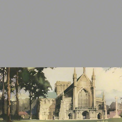Winchester Cathedral a water colour taken from the carriage print