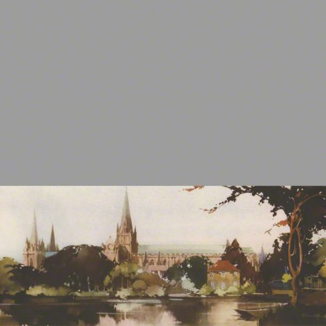 Water colour painting of Lichfield cathedral by Claude Buckle.