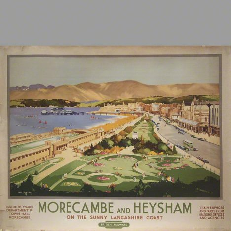 Morecambe and Heysham on the sunny Lancashire coast. Well known railway Poster by Claude Buckle 1949