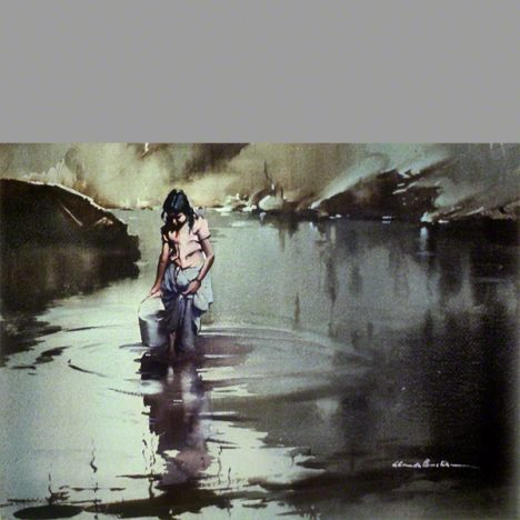 Fine water colour showing a young girl washing cloths. Location Spain
