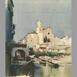 Old Town Spain Ibiza water colour by Claude Buckle