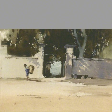 Passing by Chaterlee Gates a water colour by claude buckle