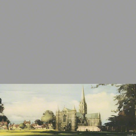 The railway carriage print of Salisbury cathedral West side from the river Avon