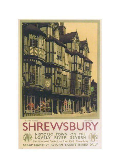 Shrewbury Irelands Mansion a railway poster by Claude Buckle