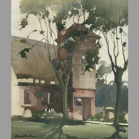 The back lawn at Dean Cottage. A water colour by Claude Buckle