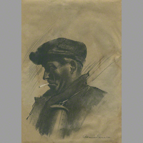 The miner pencil drawing by Claude Buckle. A war time scene