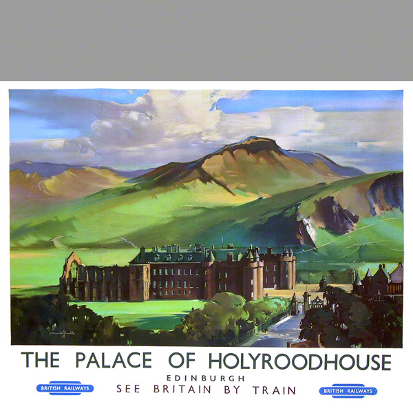 The Palace of Holyroodhouse, the official residence in Scotland of Her Majesty The Queen. From an oil painting by Claude Buckle.