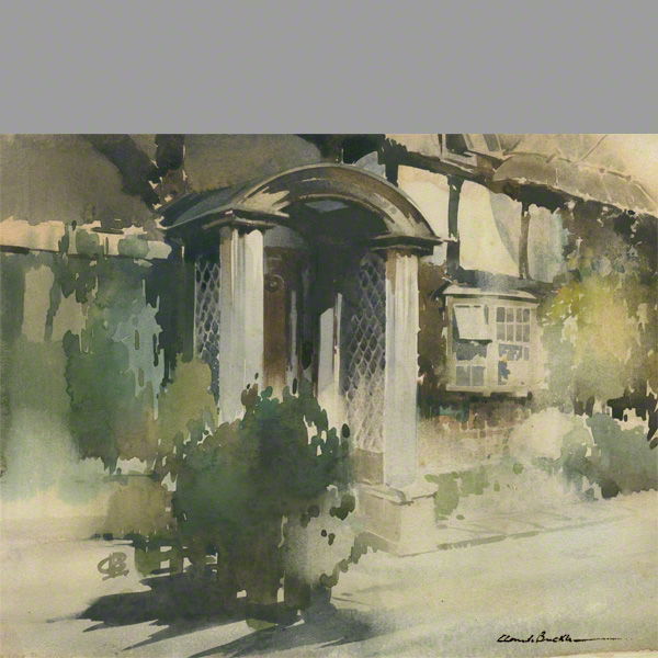 The porch at Dean Cottage. A water colour by Claude Buckle
