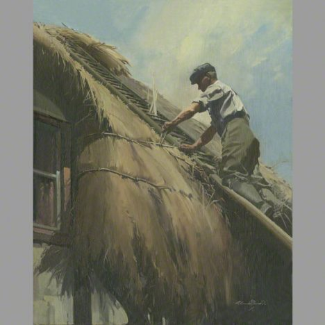 The Thatcher at Dean Cottage from an oil painting by Claude Buckle 1948