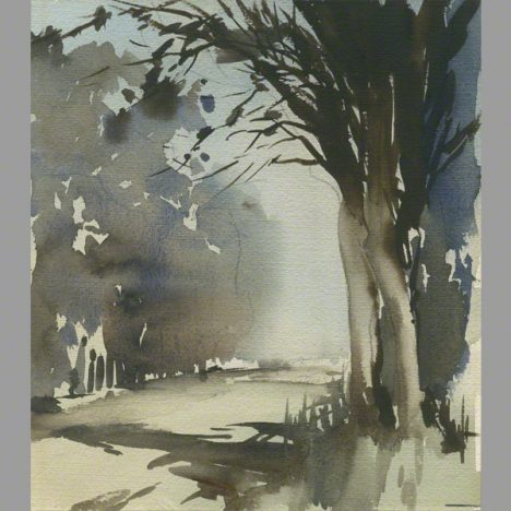 Water colour of trees and lane
