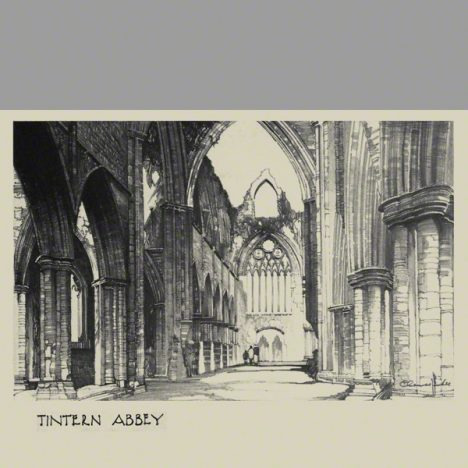 A pencil drawing by Claude Buckle. Ruins of a Cistercian abbey founded in 1131.