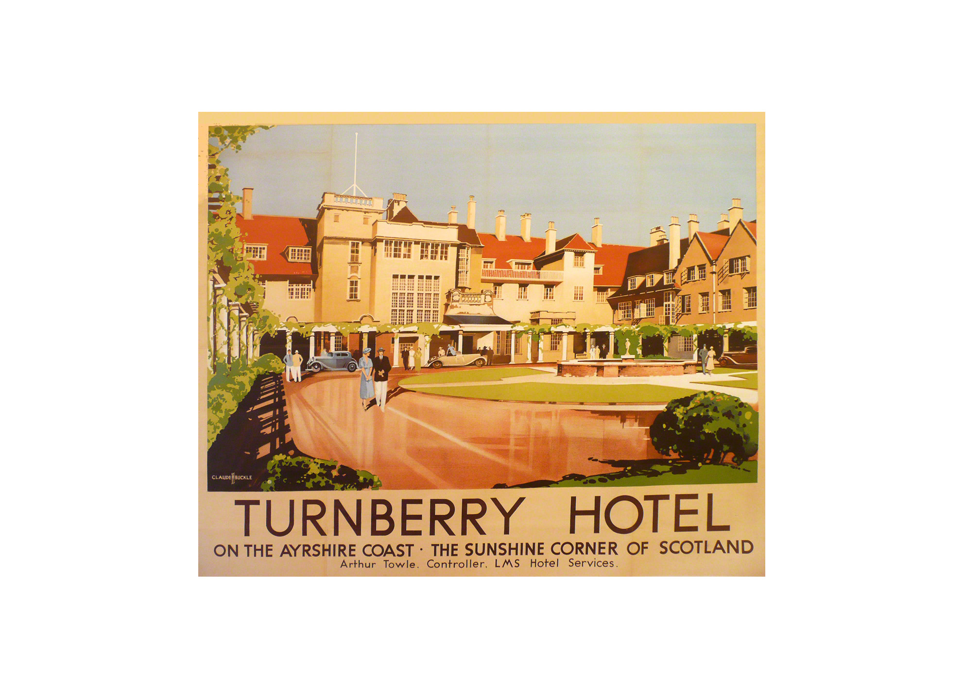 Turnberry Hotel on the Ayrshire coast a railway poster by Claude Buckle