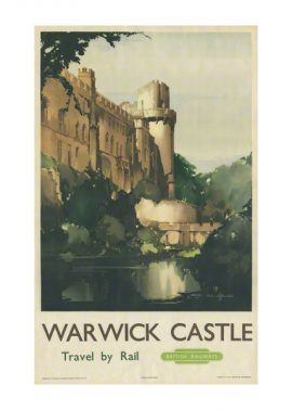 Warwick castle a railway poster by Claude Buckle