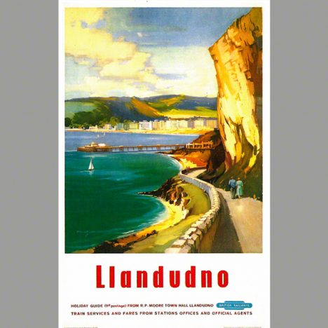 Railway Poster of Llandudno and the happy valley walk. From an oil painting by Claude Buckle