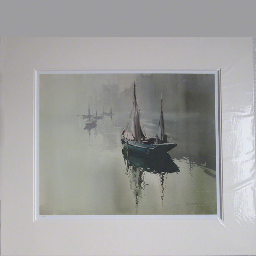 Mounted Print. Misty Creek an atmospheric scene of a sailing boat on an estuary with outlines of trees and other boats in the background.