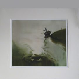 Mounted print. River scene in which an angler is shown casting his line from a fishing boat.