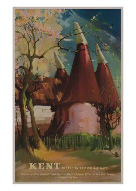 Print of the Oast Houses of kent by Claude Buckle