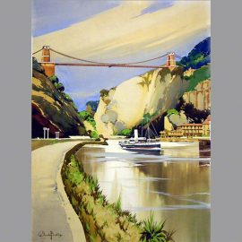 railway poster artwork (1936) of the Clifton Suspension bridge Bristol by Claude Buckle