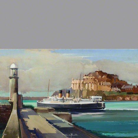 The ferry leaving St Peter Port past Castle Cornet