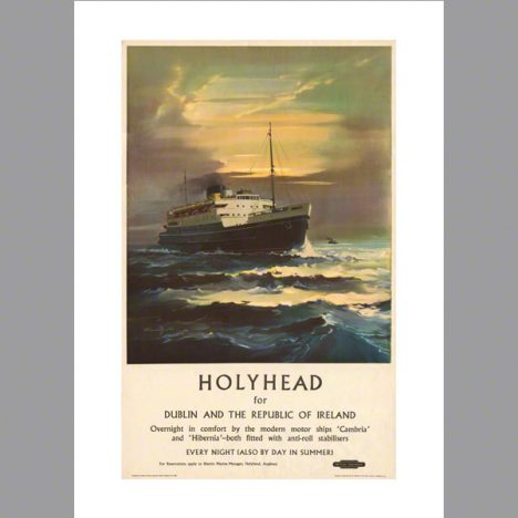 Print M.V. Cambria, BR Holyhead - Dun Laoghaire by Claude Buckle